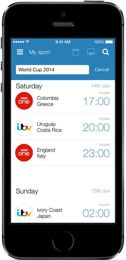 Sport on TV for iPhone and iPod touch